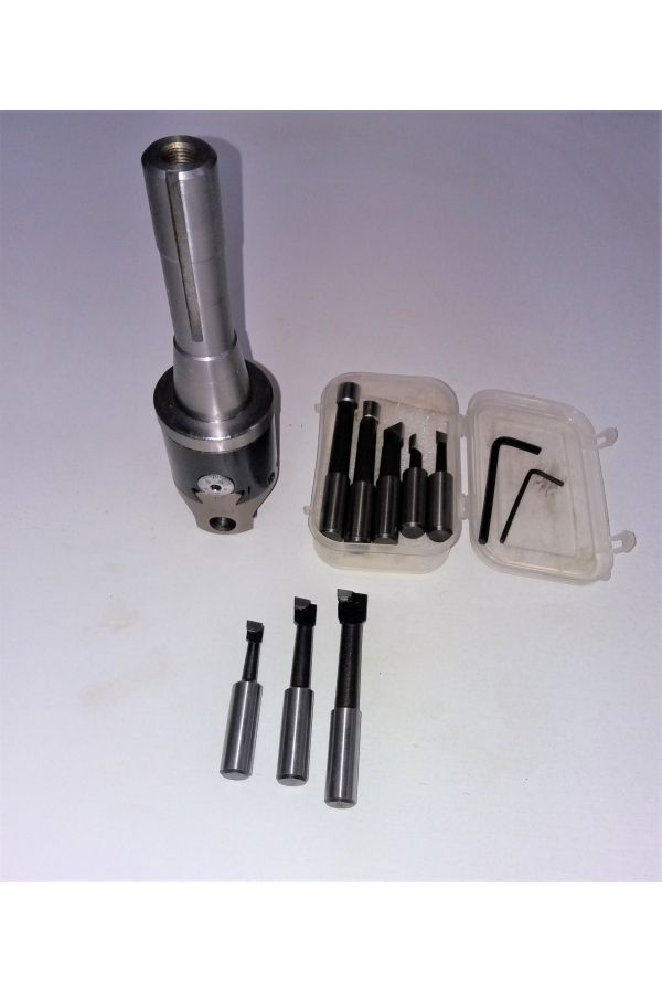 """BORING HEAD SET 2"""" SIZE SET WITH R 8 ARBOR AND 5 PIECES HSS CUTTERS"""