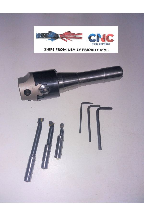 "BORING HEAD SET 1.75"" SIZE SET WITH R 8 ARBOR AND 3 PIECES CARBIDE CUTTERS"