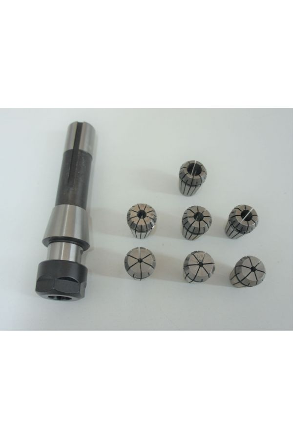 ER 20 COLLET CHUCK WITH R-8 SHANK AND 7 PIECES ER 20 COLLETS
